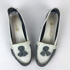 Vintage Jack Rogers blue cream tassel loafers